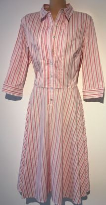 UNITED COLORS OF BENETTON STRIPED RED SHIRT DRESS SIZE UK 10 & 12